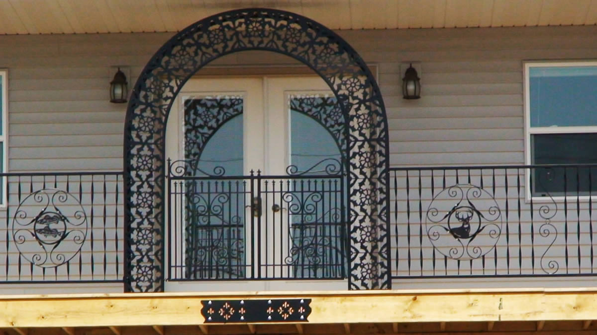 This custom made trellis and railing was created by Dennis Jasmer of DJ's Metal Art custom CNC Metal Design and Cutting