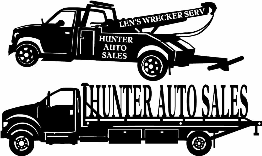 CNC Metal Cut Designs of Len's Wrecker Service Tow Truck and Hunter Auto Sales and Body Shop Car Hauler in Independence, Iowa.