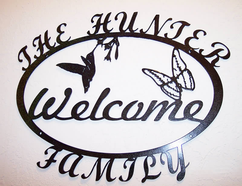 The Hunter Family Custom-made Metal Wall Welcome Sign.